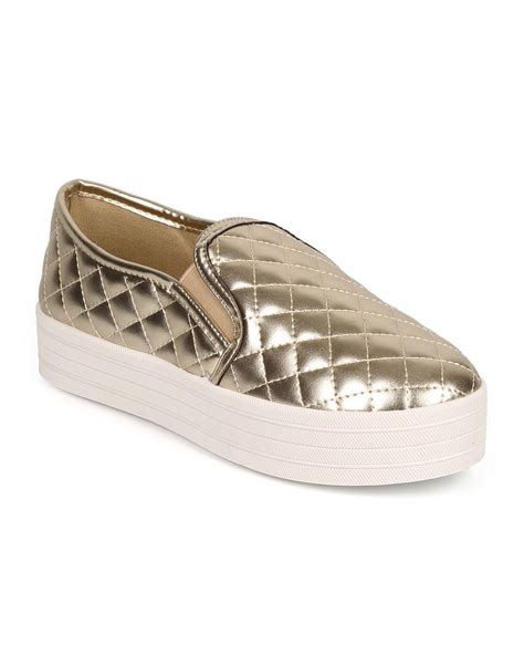 quilted platform sneakers shoes breckelles dh57 metallic quilted toe