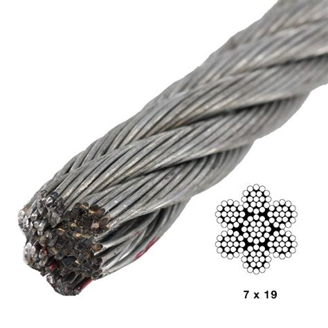 3 8 wire rope strength 3 8 quot 7x19 galvanized wire by linear foot