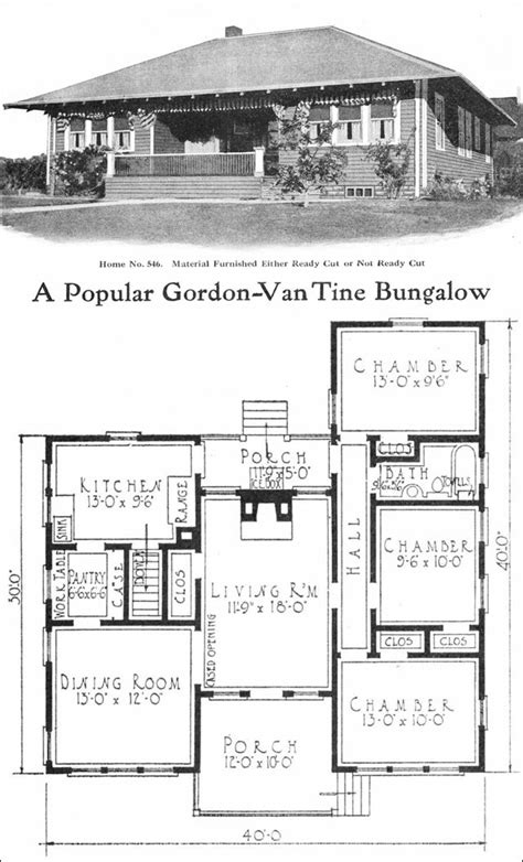 small retro house plans 1918 eclectic bungalow 950 sq ft no 546 by gordon van tine vintage house plans for