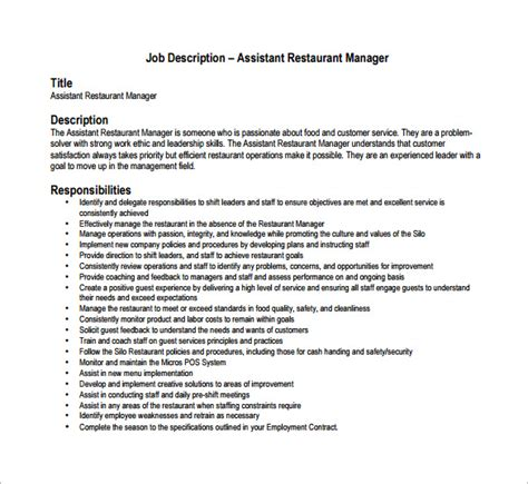 restaurant manager description templates 10 free sle exle format free