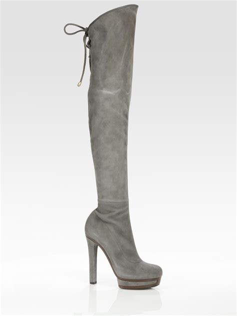 gucci alyona suede the knee boots in gray grey lyst