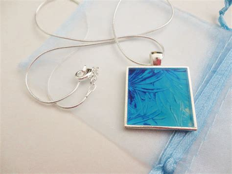 acrylic paint jewellery water flowers made to order resin necklace ooak abstract