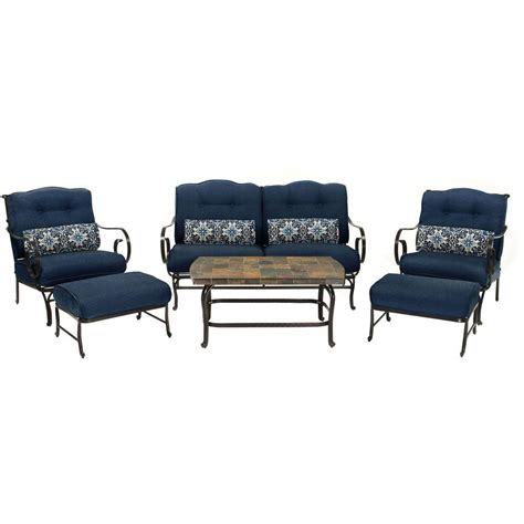 Patio Coffee Table Set Hanover Oceana 6 Patio Seating Set With A Top Coffee Table And Navy Blue Cushions