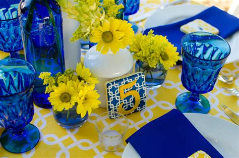 cobalt blue and yellow wedding decorations cobalt blue and yellow tablescape pensacola wedding