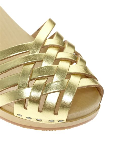 swedish hasbeens braided gold low wedge sandals in