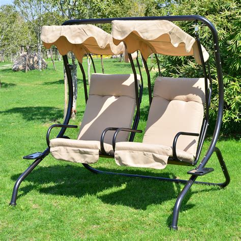 garden swing outdoor patio swing canopy 2 person seat hammock bench