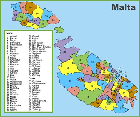 on the map administrative divisions map of malta