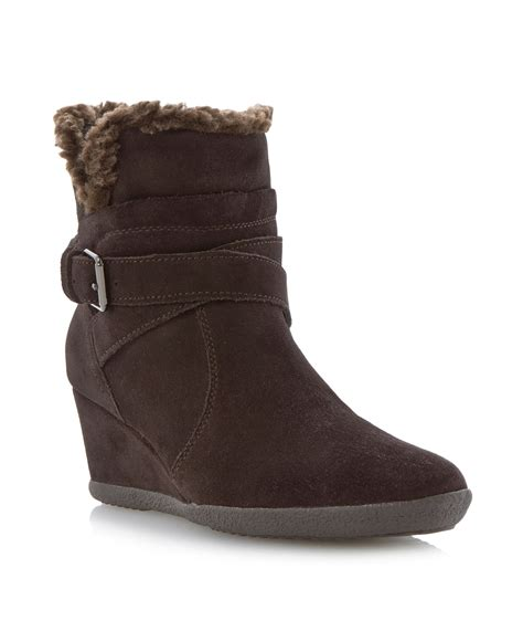 geox boots geox amelia stivali wedge buckle ankle boots in brown lyst