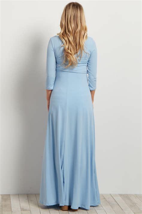 light blue maternity maxi dress light blue draped 3 4 sleeve maternity maxi dress