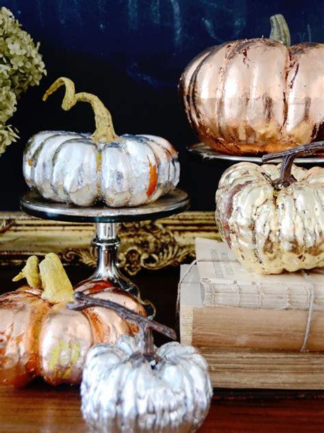 gold pumpkin centerpieces make metallic copper gold and silver pumpkins for a chic