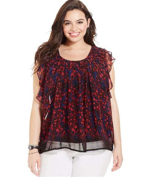 Plus Size Blouse lyst plus size printed gathered chiffon blouse in blue