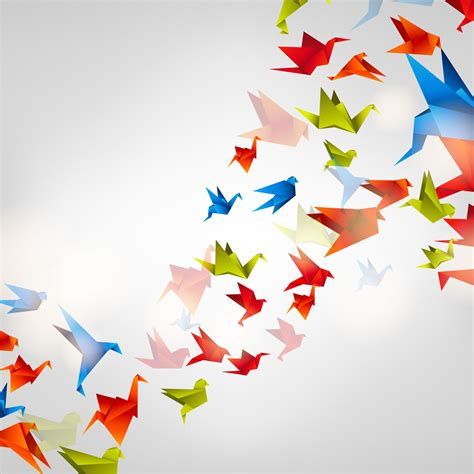 Origami Birds Flying - origami birds wallpaper for decor