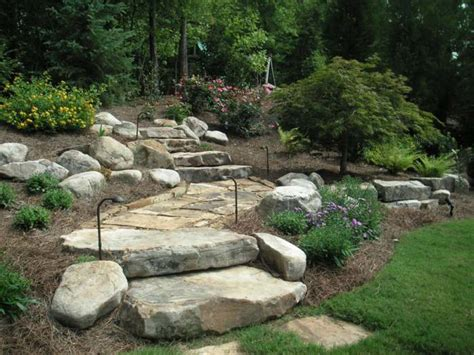 Landscape Edging With Boulders A Boulder Wall Landscape Steps Edging On A