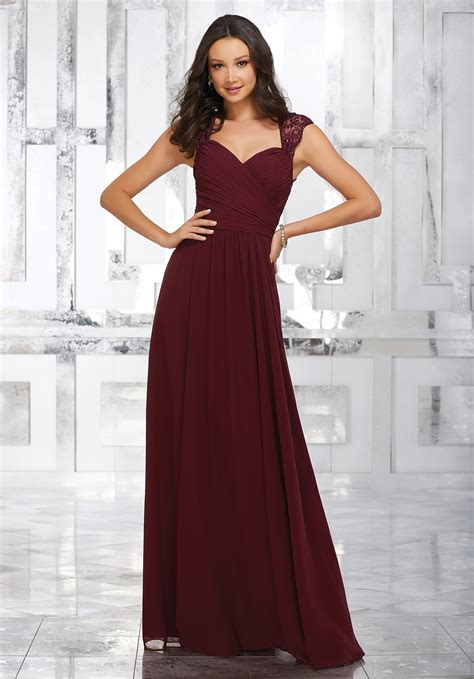 chiffon bridesmaids dress with beaded and embroidered