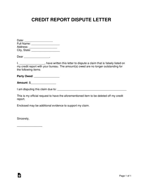 Free Credit Report Dispute Letter Template Sle Word Pdf Eforms Free Fillable Forms Template To Dispute Credit Report