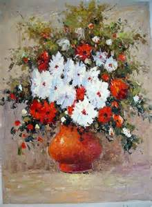vase and white flowers painting aknife palatte