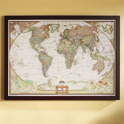 large wall map world political map earth toned poster size and framed