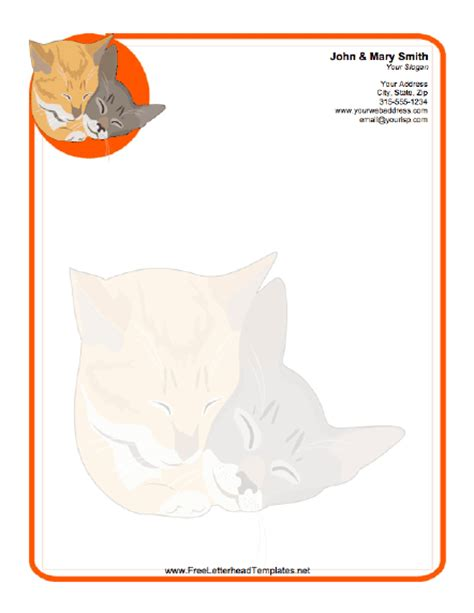 printable animal letterhead cat letterhead