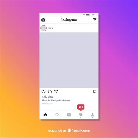 Instagram Post Template With Notifications Vector Free Download Instagram Template