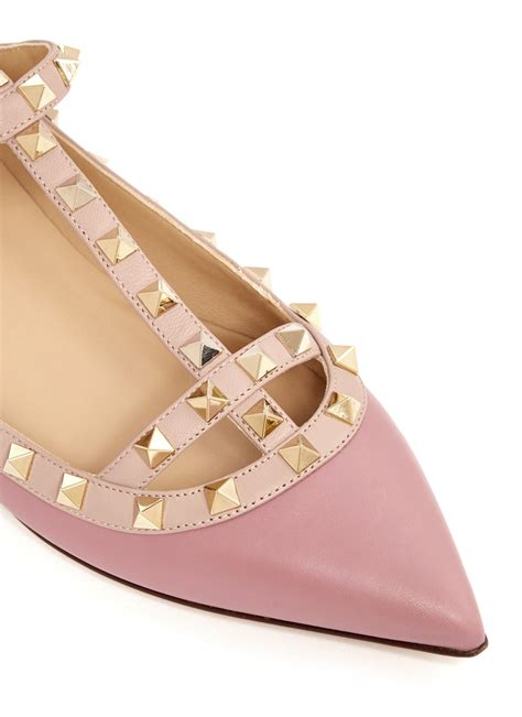Flats Shoes Valentino 266 4 lyst valentino rockstud caged leather flats in pink