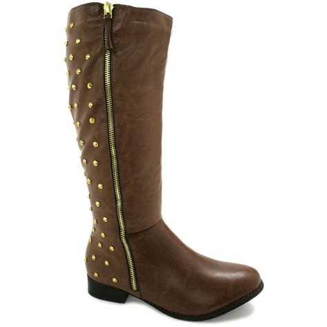 buy shannon low heel stud knee high biker boots