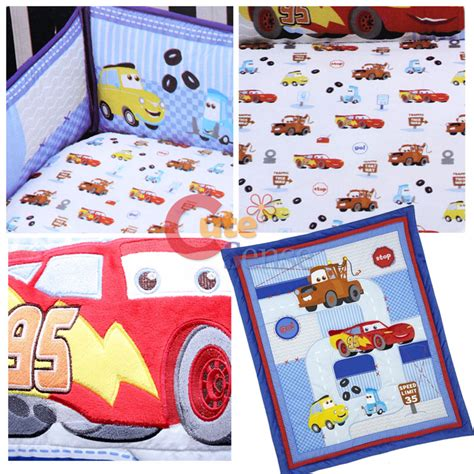 disney cars crib bedding cars mcqueen with mater baby 4pc crib bedding set ebay