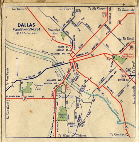 dallas texas road map 1940s dallas road map maps galore