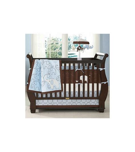Blue Nursery Bedding Sets S Blue Elephant 4 Baby Crib Bedding Set