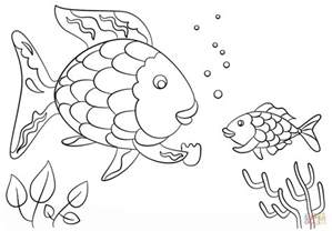 rainbow fish coloring page rainbow fish gives a precious scale to small fish coloring