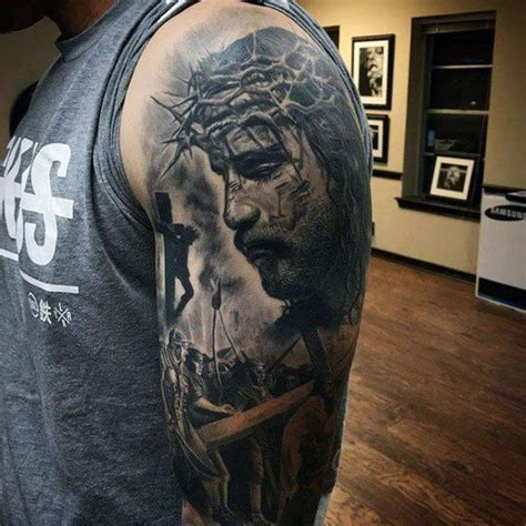 tattoo of jesus carrying the cross 50 jesus sleeve tattoo designs for men religious ink