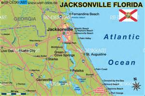 map of jacksonville region united states of america usa
