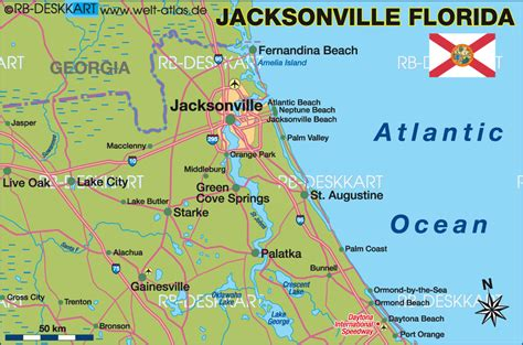 jacksonville florida map map of jacksonville region united states of america usa florida map in the atlas of the