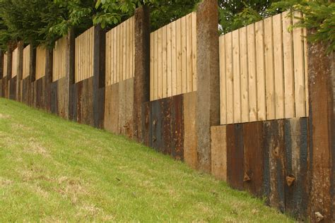 Railway Sleepers Fence by Garden Fencing Design Dublin Landscaping Ie