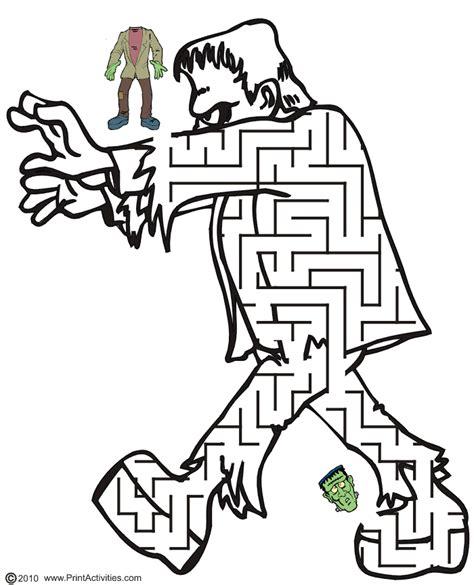 printable halloween maze worksheets free printable frankenstein halloween maze