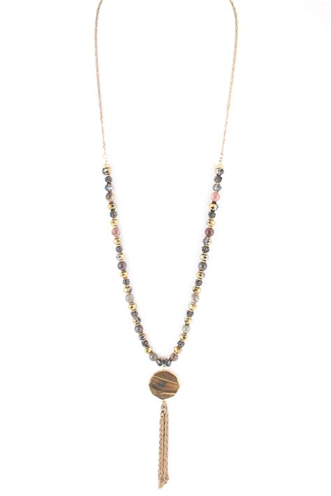 glass bead necklace with tassel attachment necklaces