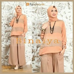 Baju Setelan Busana Muslim Fashion Wanita Kulot Halona Tosca baju muslim wanita setelan celana kulot 3 in 1 modis