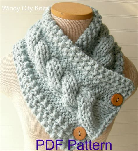knitted cowl patterns windycityknits knit cable cowl scarf pattern pdf