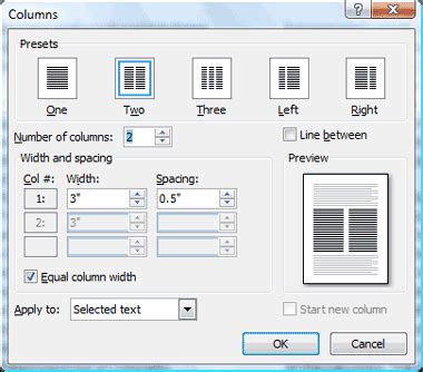 word page layout columns comma training page 20