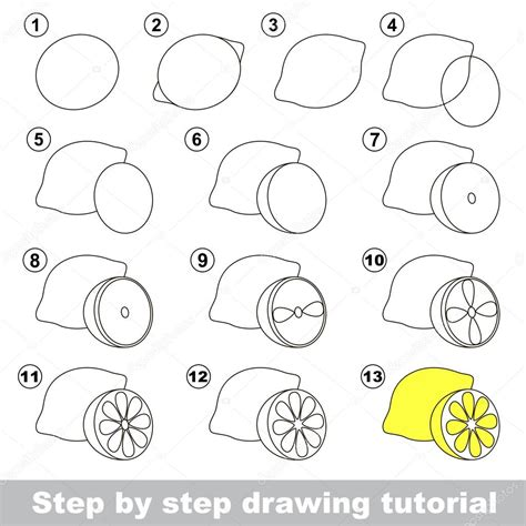 doodle draw tutorial drawing tutorial how to draw a lemon stock vector