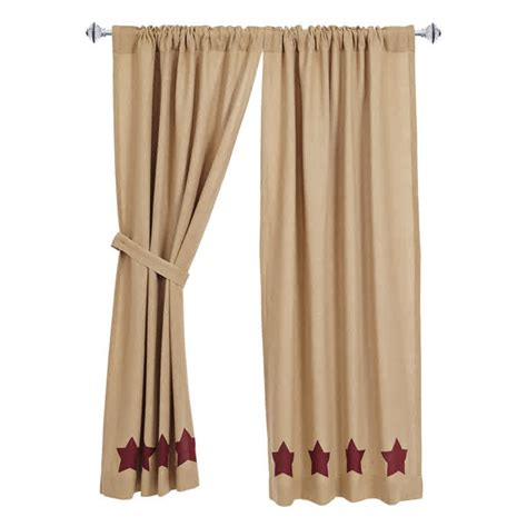 curtains 24 x 36 burlap w burgundy stencil stars short tieback curtain