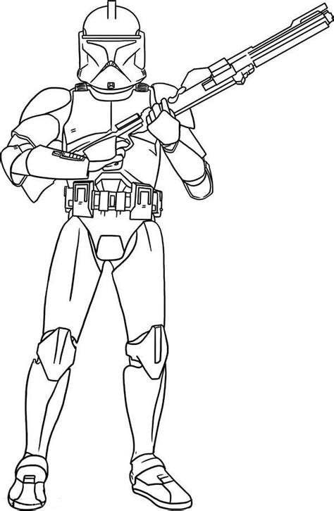 coloring pages wars clone trooper the clone trooper hold a gun in wars coloring page