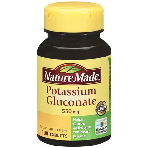 supplement potassium nature made potassium gluconate tablets 100ct walmart