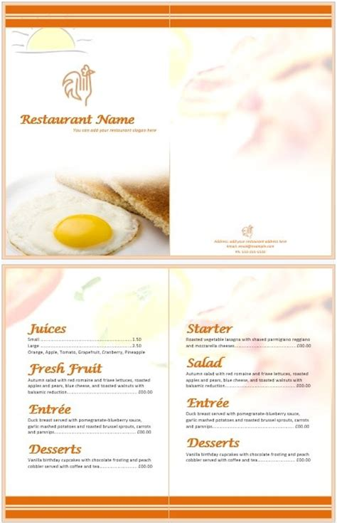 11 Free Sle Breakfast Menu Templates Printable Sles Brunch Menu Template
