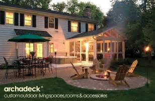 Deck And Patio Designs Screen Porch Tub Deck Patio Firepit Combo