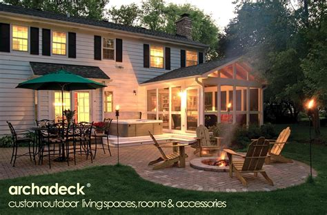 Backyard Porches by Screen Porch Tub Deck Patio Firepit Combo