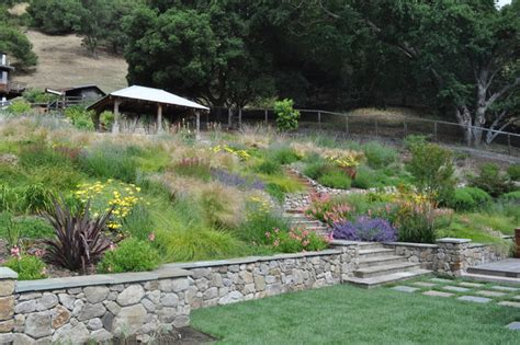 Design For Hillside Landscaping Ideas Northern California Regional Hillside Mediterranean Landscape San Francisco By Huettl