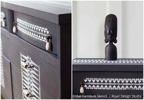 tribal pattern furniture tribal stencil transformation with chalk paint