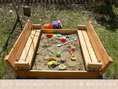 sandbox with benches diy sandbox with fold out seats