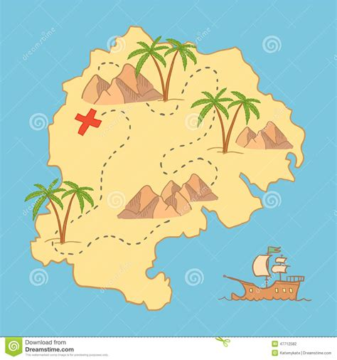 map design elements vector hand drawn vector illustration treasure map and design