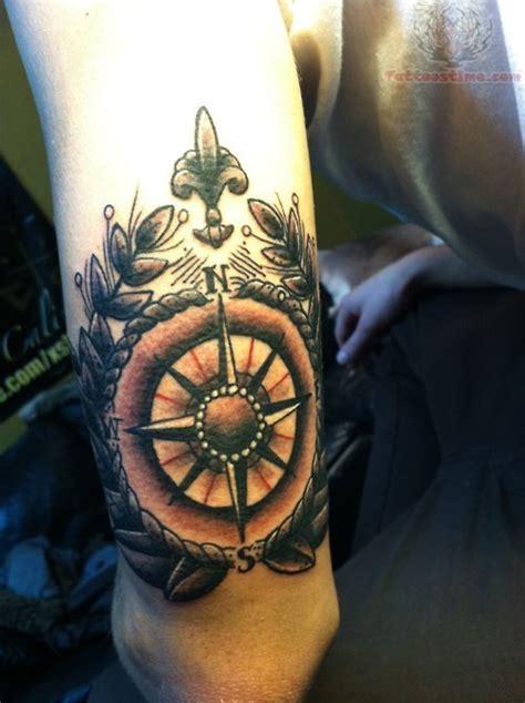 black and grey elbow tattoo grey ink compass tattoo clock compass pinterest